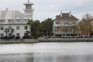 picture across Lake Rianhard toward Bohemian Hotel, Celebration, FL
