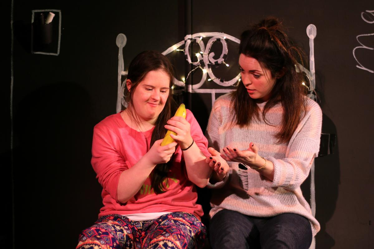 Clamour Theatre Company. Joy at Theatre Royal Stratford East. Imogen Roberts (Joy) and Rachel Bright (Mary). Photo credit Mathew Foster.