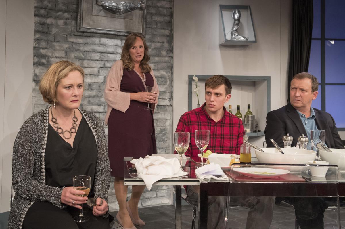Lucy Robinson (Debora), Lisa Stephenson (Tamara), David Leopold (Curtis) and Alex Lowe (Bill) in Late Company - credit Alastair Muir (419)