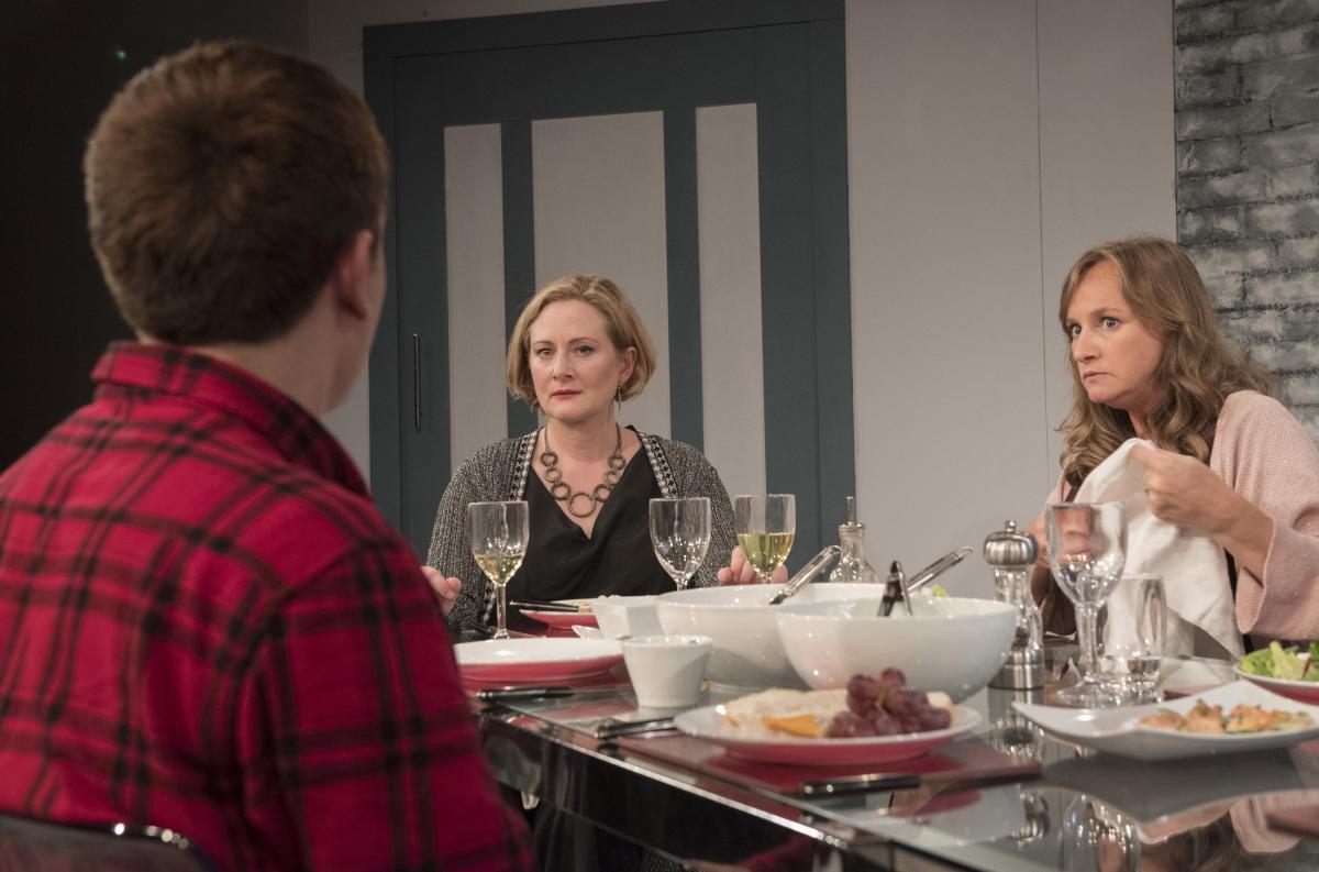 Lucy Robinson (Debora) and Lisa Stephenson (Tamara) in Late Company - credit Alastair Muir (277)