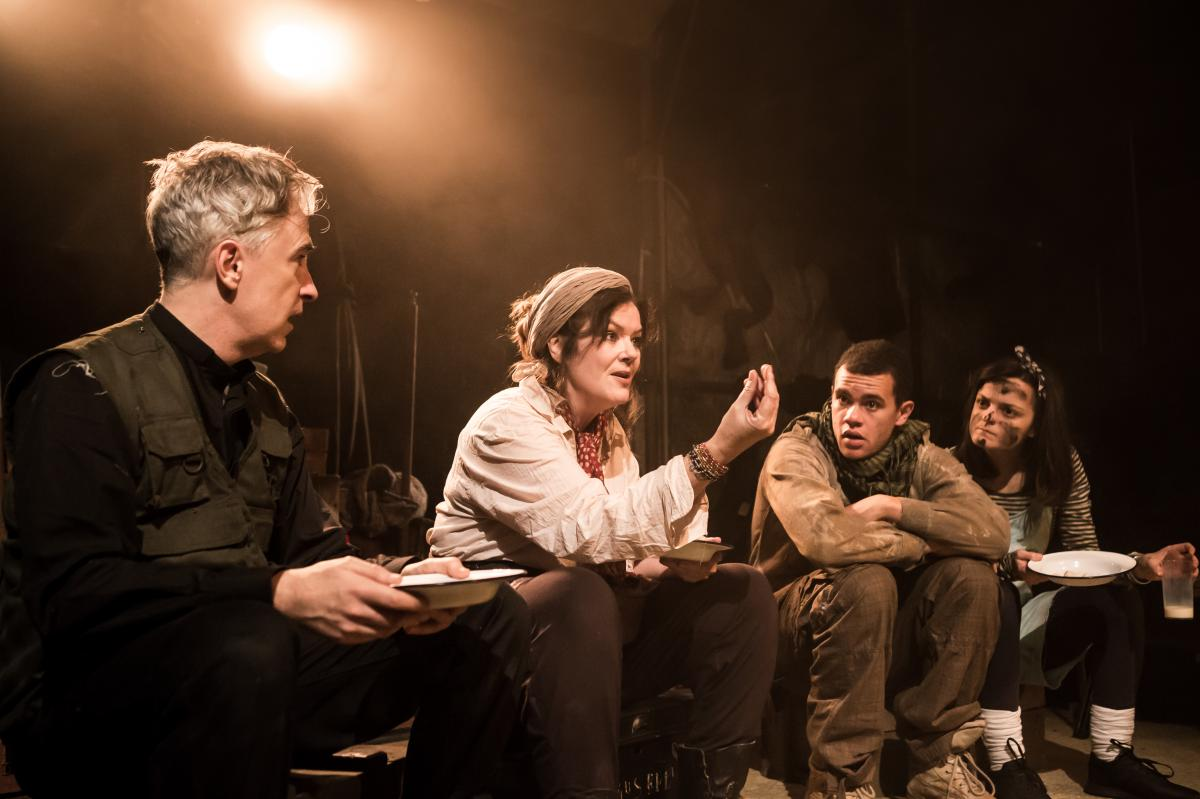 Mother Courage 9 David Shelley, Josie Lawrence, Julian Moore-Cook, Phoebe Vigor  Photo Scott Rylander