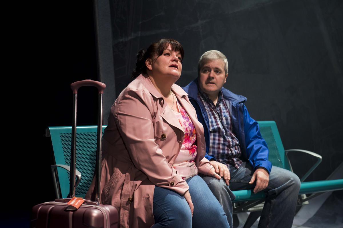 Rachel Lumberg as Rachel and Martin Miller as Jeff in The Band, credit Matt Crockett