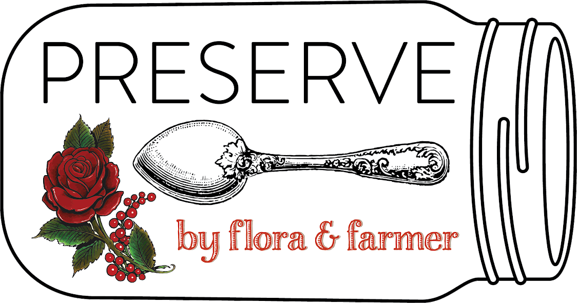 logo for Preserve by flora & farmer