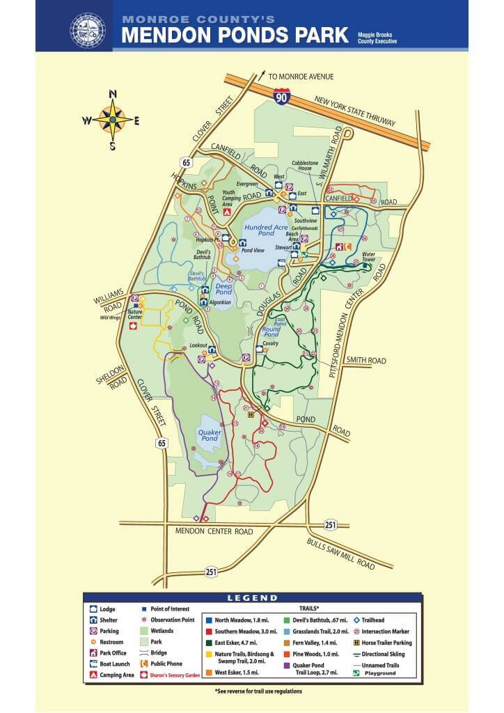 Mendon Ponds Park Map and Hiking Trails