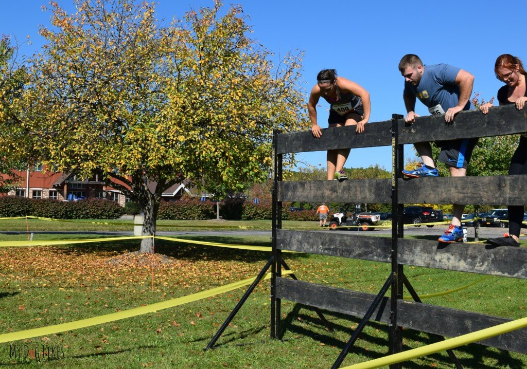 Rachael climbing overa wall obstacle at Lollypop Farm's Ruff Rampage 5K