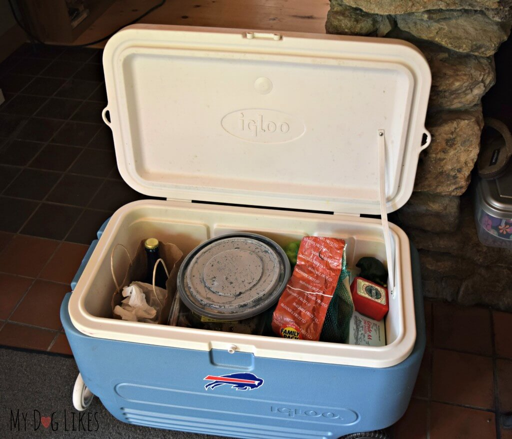 As you can see there was no extra room in the cooler for the dogs frozen raw. Thank goodness for the Instinct Kibble with Raw Boost!