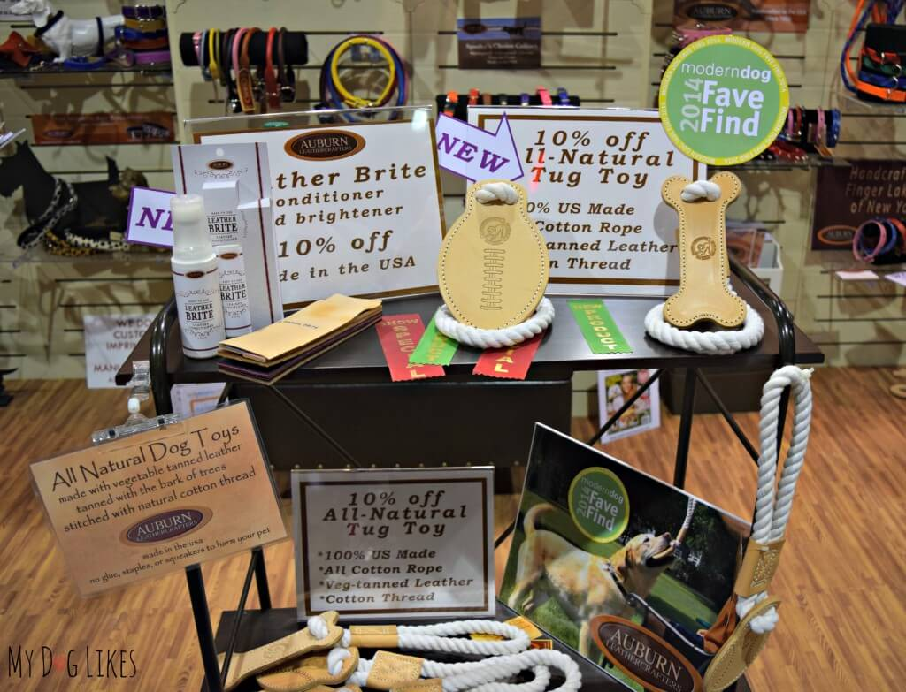 Auburn Leathercrafters all natural tug toys at Backer's Total Pet Expo