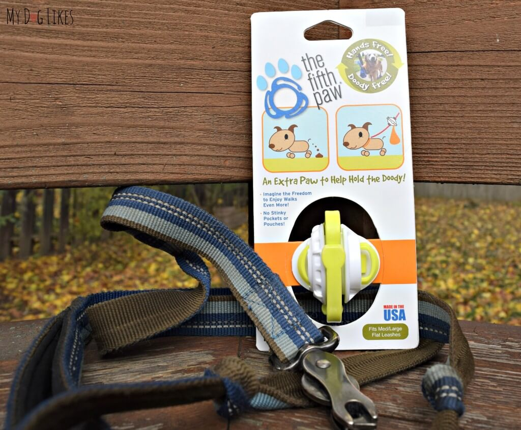 The Fifth Paw is designed to be attached to any standard 1 or 2 ply leash!