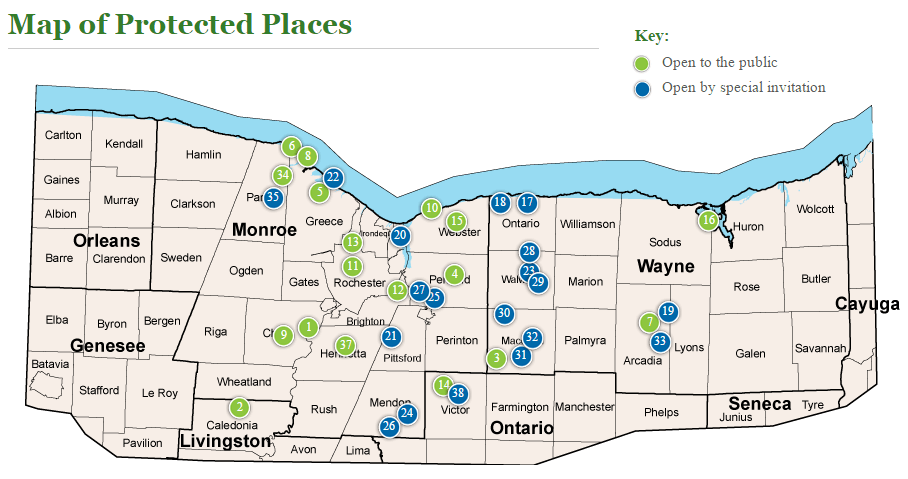 The Genesee Land Trust map of protected places in the Rochester, NY area
