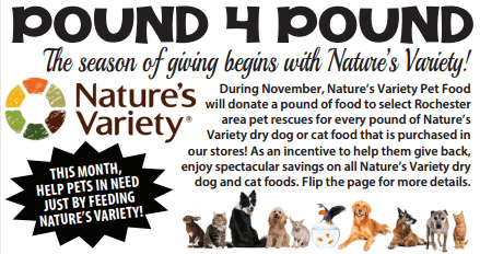 Nature's Variety is offering to donate a pound of food for every pound purchased at PetSaver Superstore during the month of November