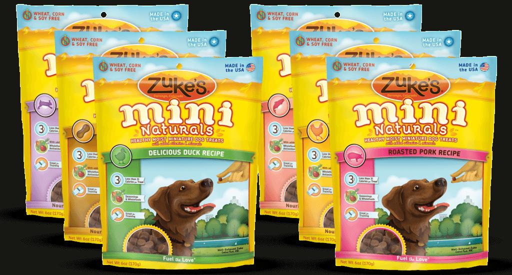Zuke's Mini Naturals come in 6 different flavors: Duck, Pork, Wild Rabbit, Salmon, Peanut Butter and Roasted Chicken
