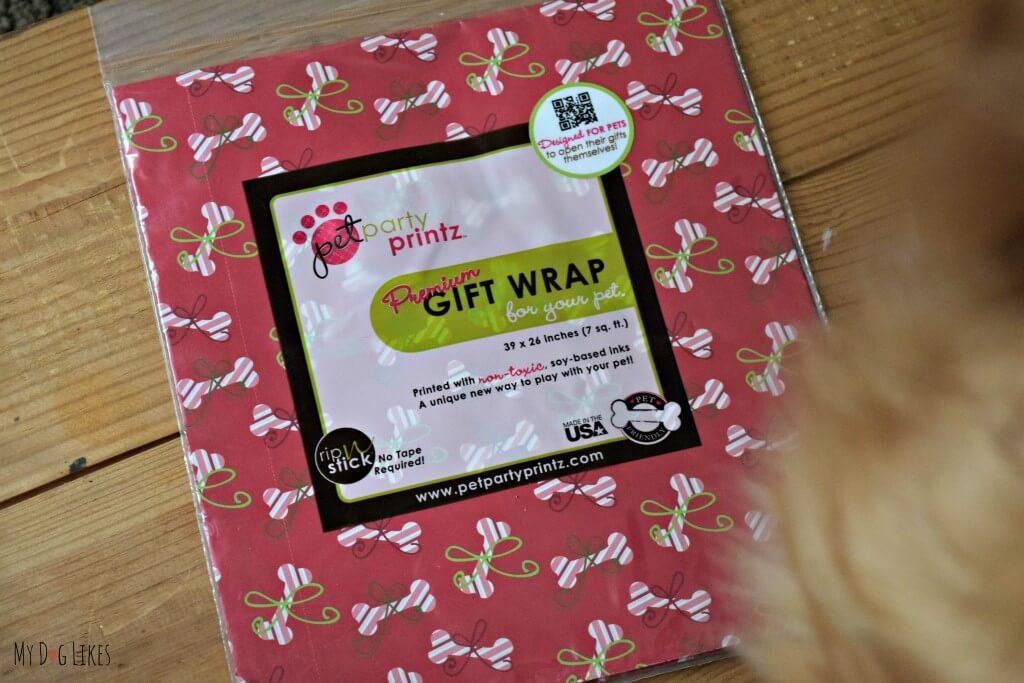 Check out our Pet Party Printz Review! This dog safe wrapping paper uses no toxic chemicals to treat the paper and soy based ink!