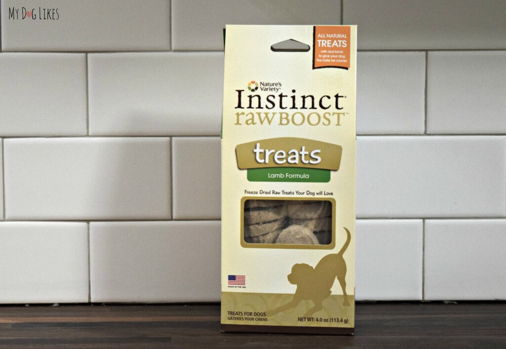 MyDogLikes reviews Nature's Variety Instinct rawBOOST Treats. These freeze dried treats come in 3 flavors: chicken, beef, and lamb.