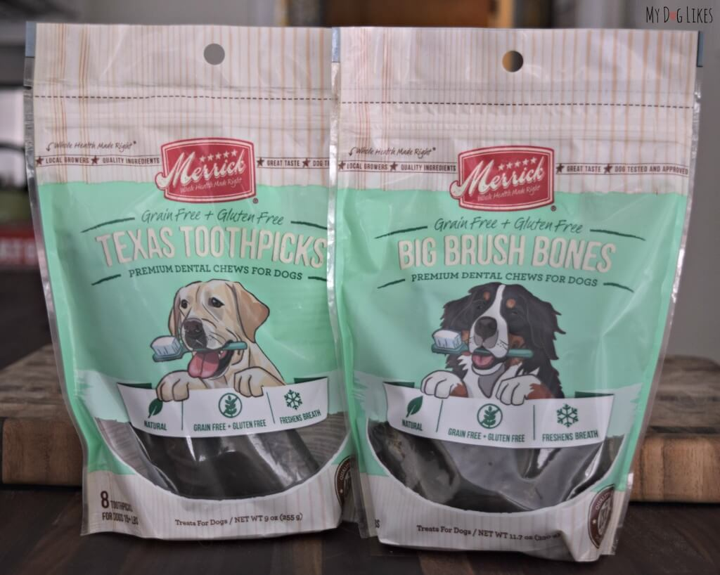 MyDogLikes reviews Merrick Dental Health chews - Texas Toothpicks and Big Brush Bones!