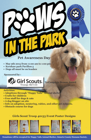 The flyer for the Paws in the Park event put on by Girl Scout Troop 40133