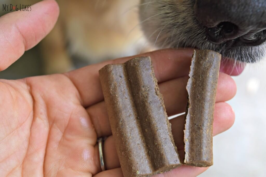 YumZies dog treats are easy to break and thus easy to share!