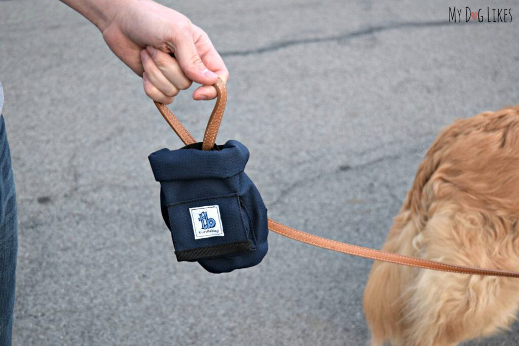 Demonstrating the Turdlebag Dog Leash Attachment