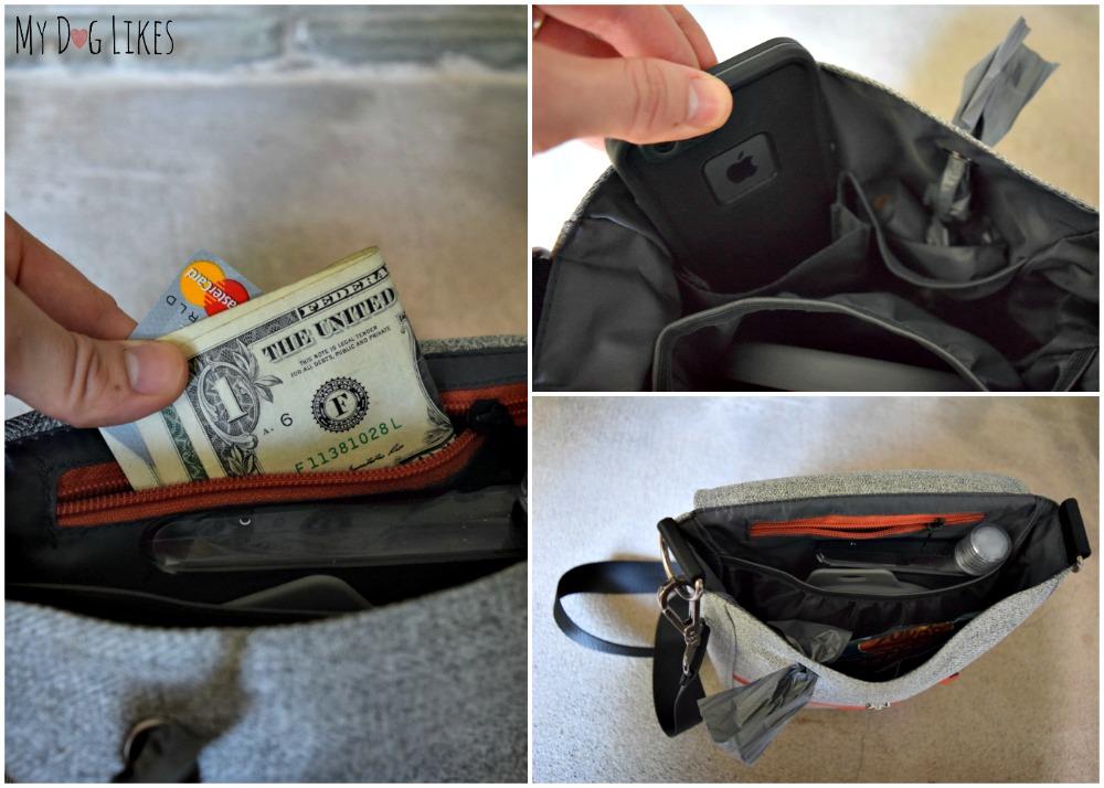 Interior Pockets with plenty of room for phone, keys, money, treats and more!