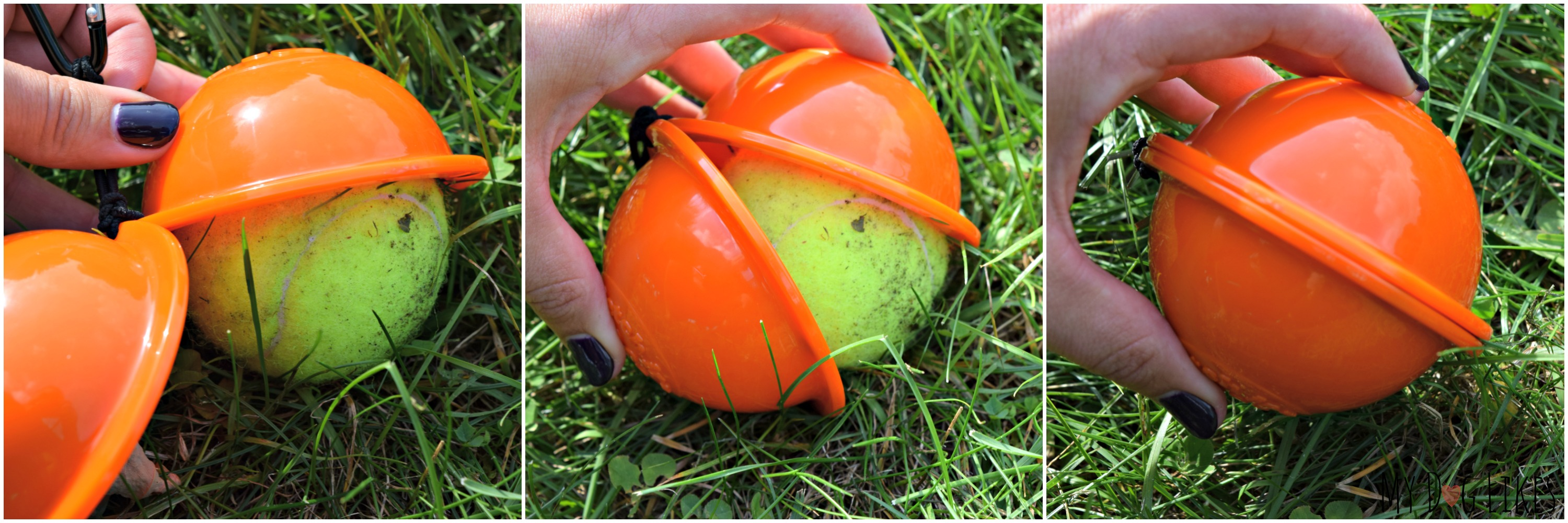 Putting a ball into our Fetch it Tennis Ball Holder