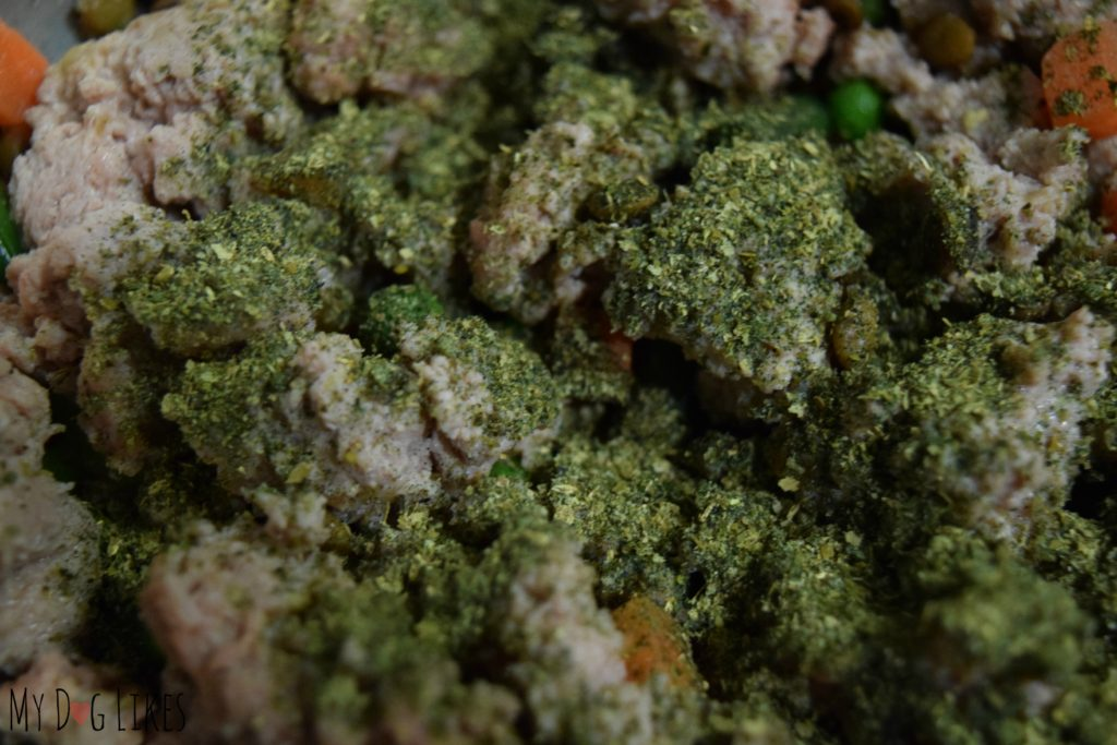 Zoomed in view of Ortho-Flex sprinkled onto our homemade dog food.