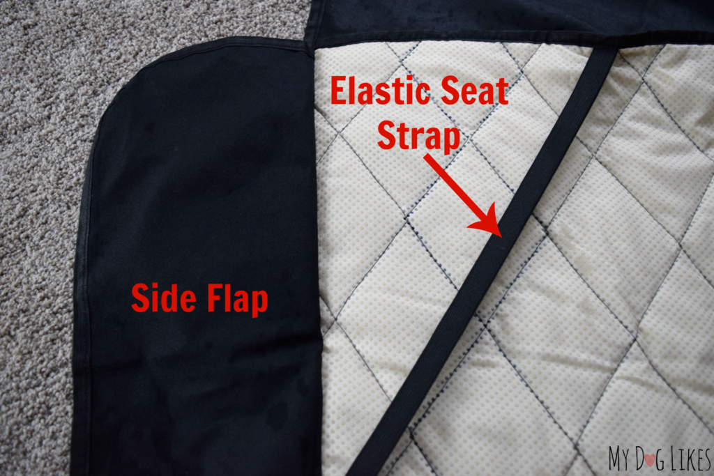 Highlighting the side flap which protects the side of your seats and the seat straps which help to keep your cover in place.