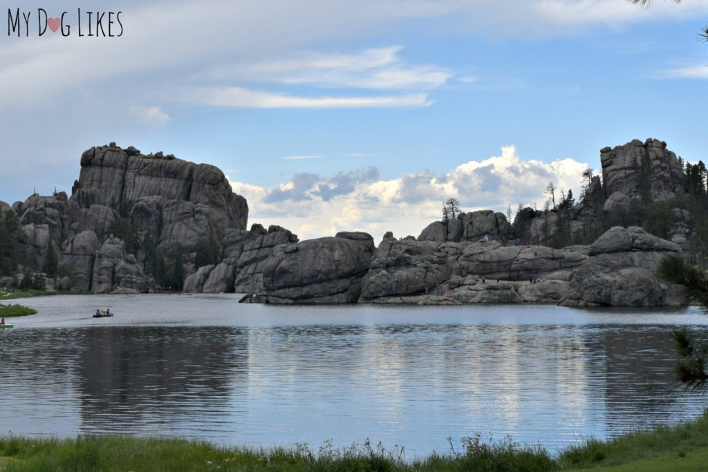 Our first look at the picturesque Sylvan Lake and its outcroppings of granite rock.