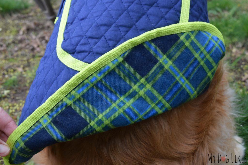Dual layer dog coat with durable stitching and back pocket