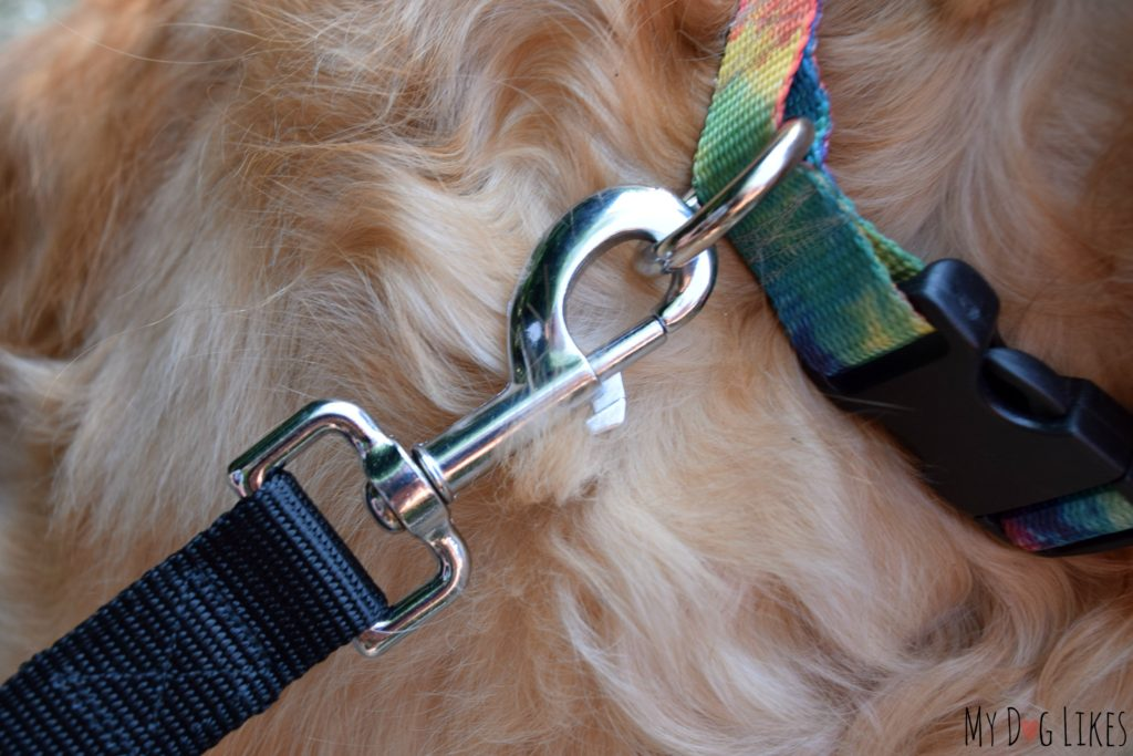 The Hand-in-Hand dog leash is complete with heavy duty hardware