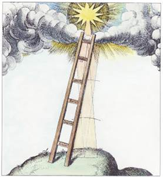 Girona is Jacob's Ladder in Patrice's network of portal sites. Image, Robert Fludd 1619, courtesy Adam McLean