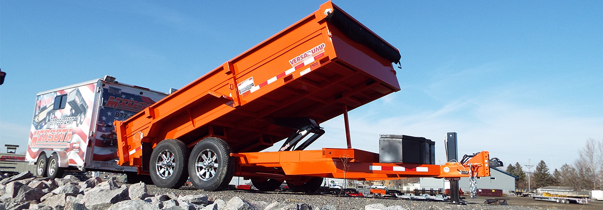 Midsota HV Series VersaDump Trailer in orange.