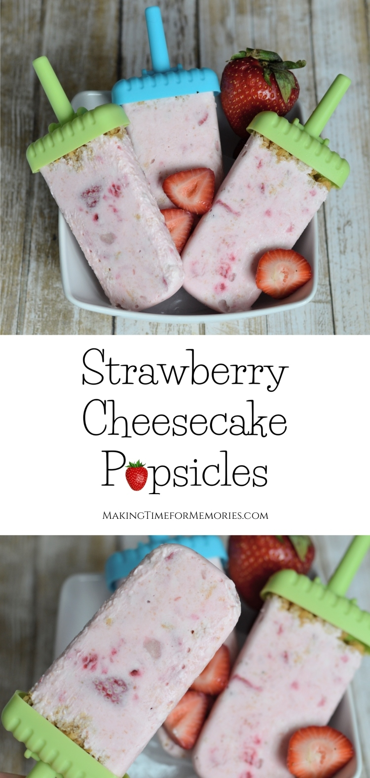 Strawberry Cheesecake Popsicles   #popsicles #strawberrycheesecake