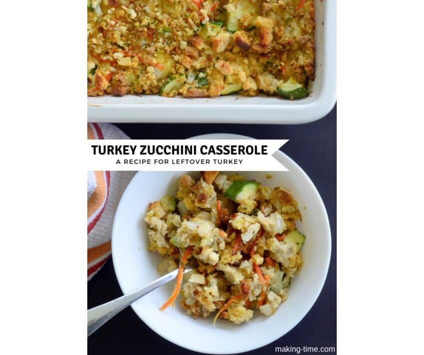 Turkey Zucchini Casserole | #recipe #leftoverturkey #Thanksgiving