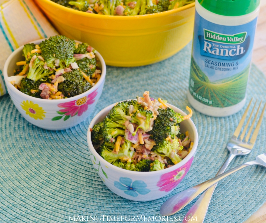 Bacon Ranch Broccoli Salad ~ #BroccoliSalad #HiddenValleyRanchSeasoningShaker #HiddenValleyRanch #HVRlove #ad