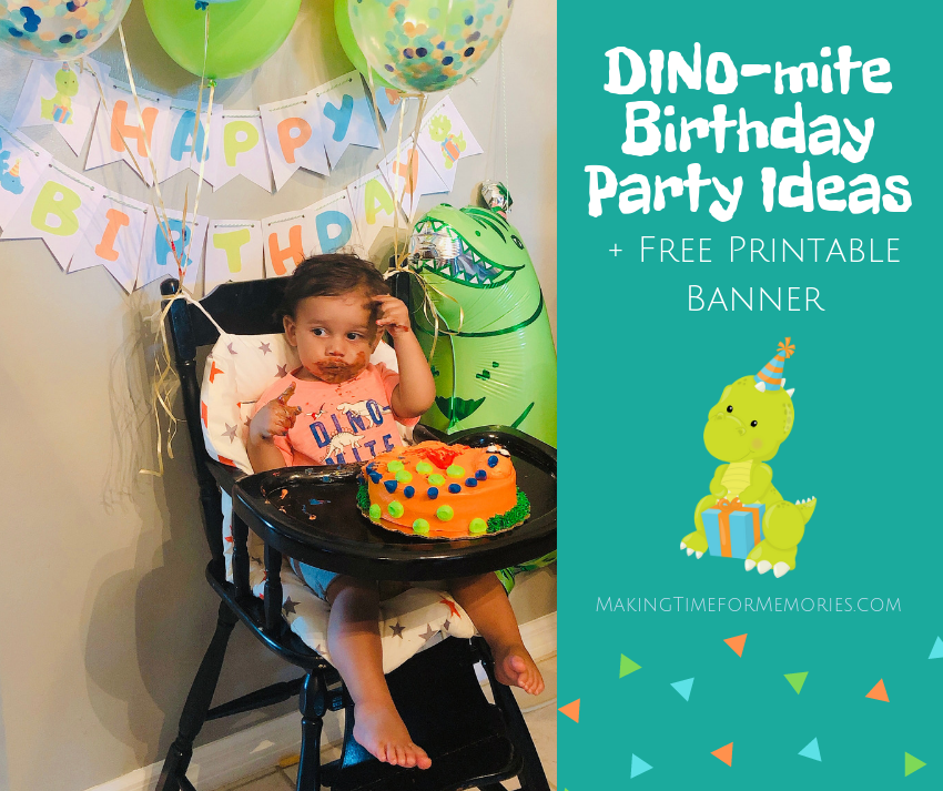 DINO-mite Birthday Party Ideas + Free Printable Banner ~ #freeprintable #DINOmiteBirthday #dinosaurparty #birthdayparty #firstbirthday