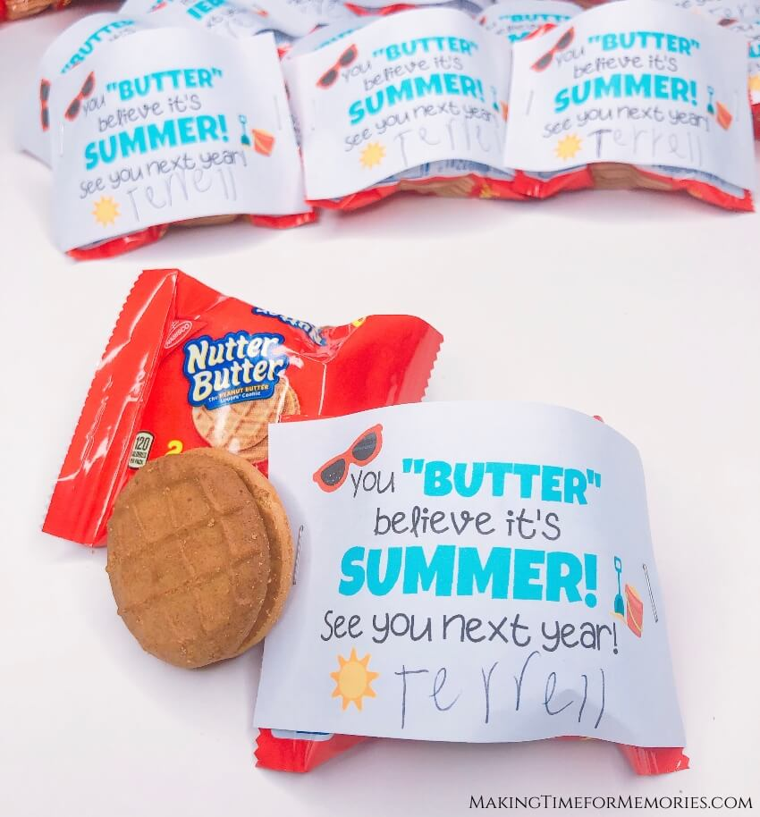 Nutter Butter End of School Year Classmate Treats ~ #NutterButter #endofschoolyear #classroomtreats #freeprintable