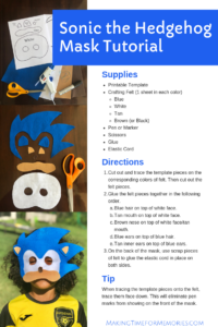Sonic The Hedgehog Mask Tutorial Making Time For Memories