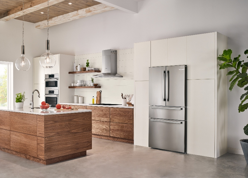 angled photo of kitchen featuring a Bosch Counter-Depth Refrigerator
