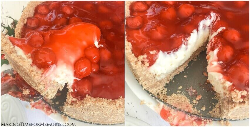 2 photo collage of a slice of Creamy No-Bake Vanilla Cherry Cheesecake being cut
