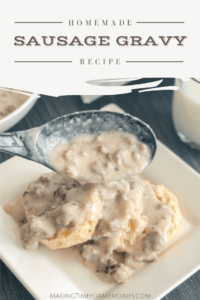 Homemade Sausage Gravy Recipe title image featuring a white square plate with an open biscuit and large black spoon pouring gravy over the top