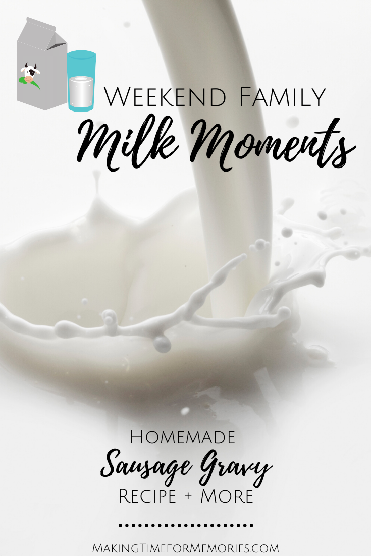 Weekend Family Milk Moments title image with a background of white milk being poured and splashing
