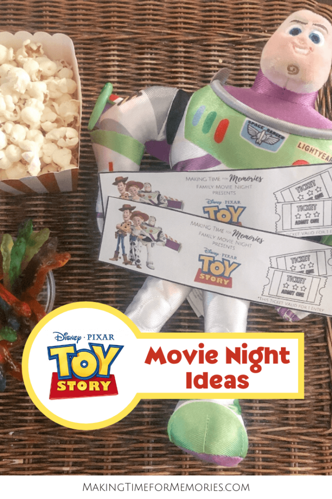 Toy Story Movie Night Ideas - main image featuring Buzz Lightyear toy, printable Toy Story movie tickets, gummy snakes and popcorn