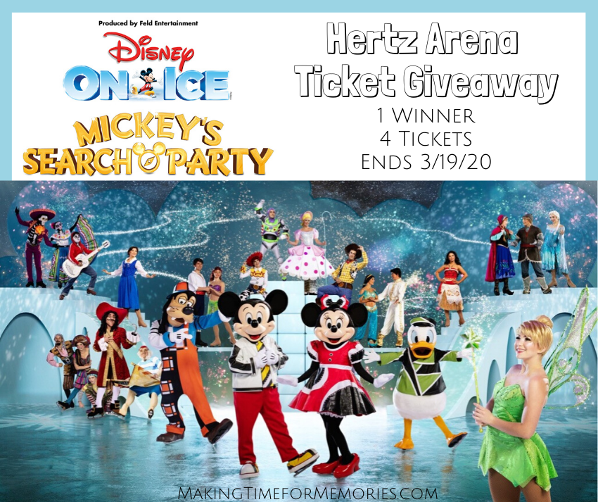 Giveaway Graphic - Disney On Ice Mickey's Search Party at Hertz Arena, 4 ticket giveaway, image features all of the Disney characters in the show
