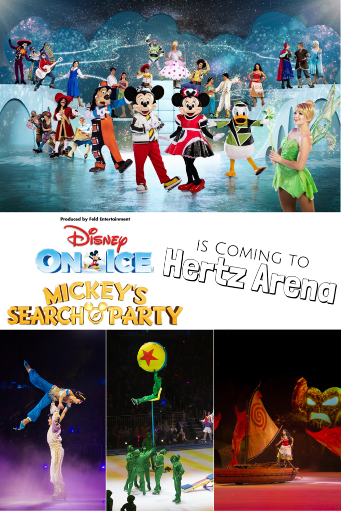collage with images from the Disney On Ice Mickey's Search Party show - Aladdin lifting Jasmine over his head, the Toy Story Soldiers lifting a soldier into the air with the Toy Story ball, Moana on her raft rowing away from Tafiti, image with all Disney On Ice Mickey's Search Party characters