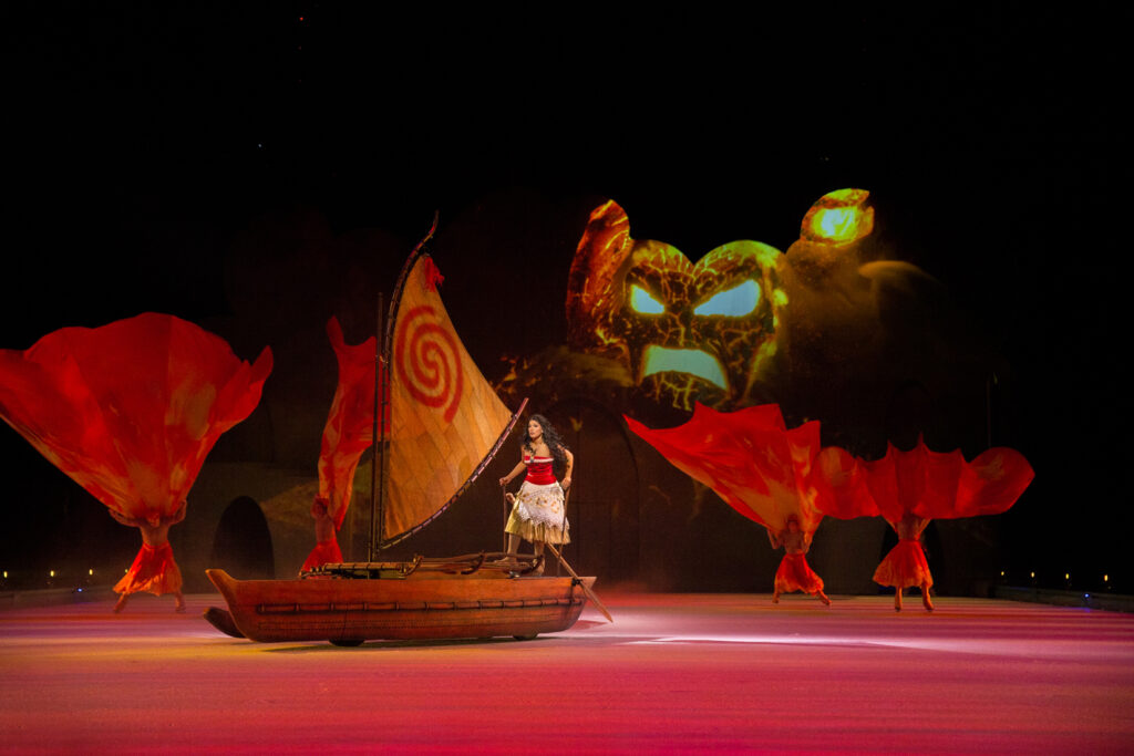 Disney On Ice Mickey's Search Party - Moana on her raft rowing away from Tafiti
