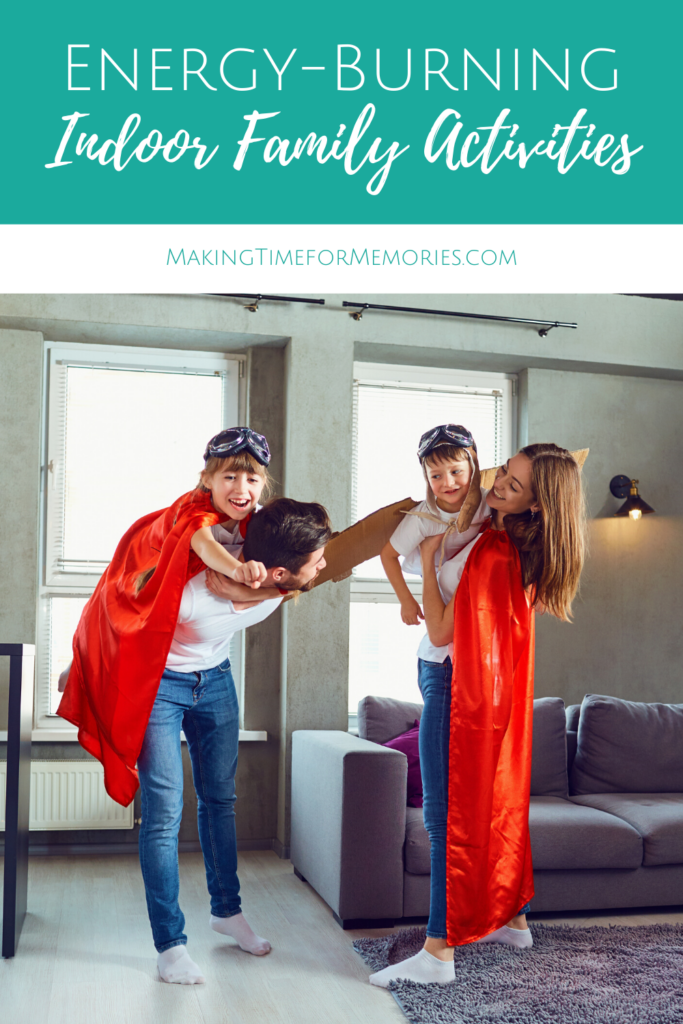 Energy-Burning Indoor Family Activities main image featuring a mom, dad and 2 kids dressed up as pilots and superheroes playing airplane