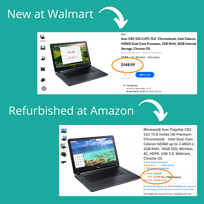 price comparison between a new Acer laptop and the same laptop refurbished - refurbished is half the price but works just as well