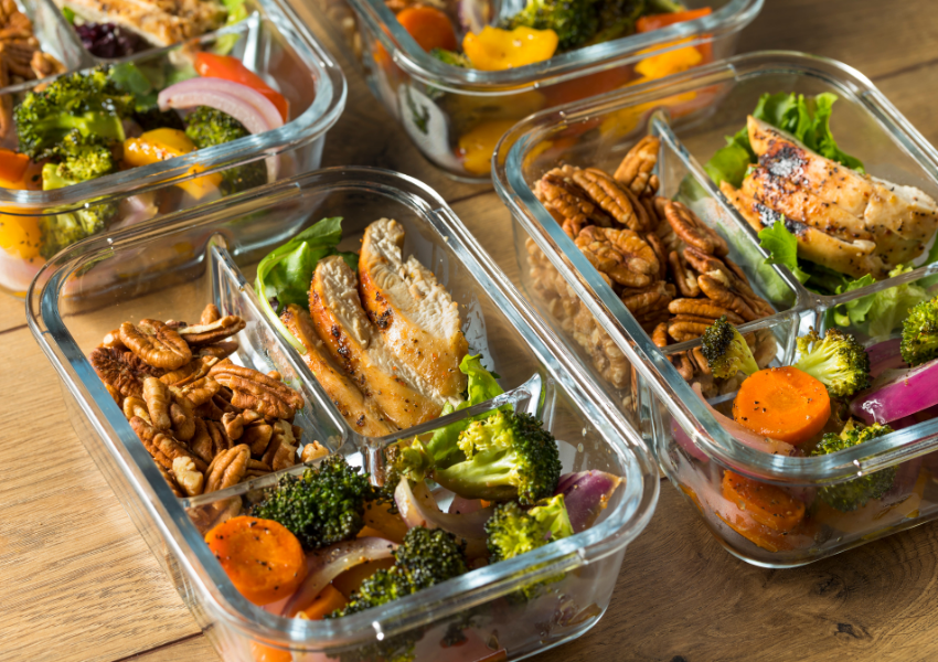 family portioned meal prep