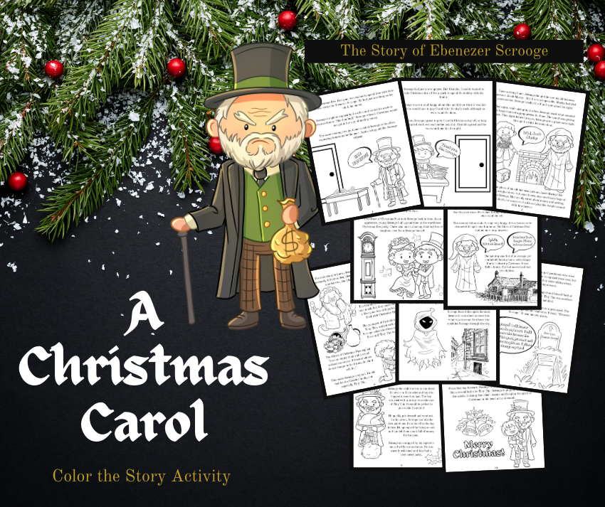 """A Christmas Carol"" Color the Story Activity - 10 printable story pages to color"