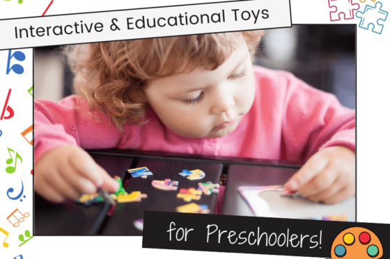 Interactive & Educational Toys for Preschoolers feature image - preschool girl putting together a jigsaw puzzle