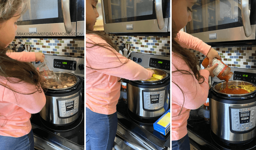 little girl learning to cook spaghetti and meatballs in the Instant Pot